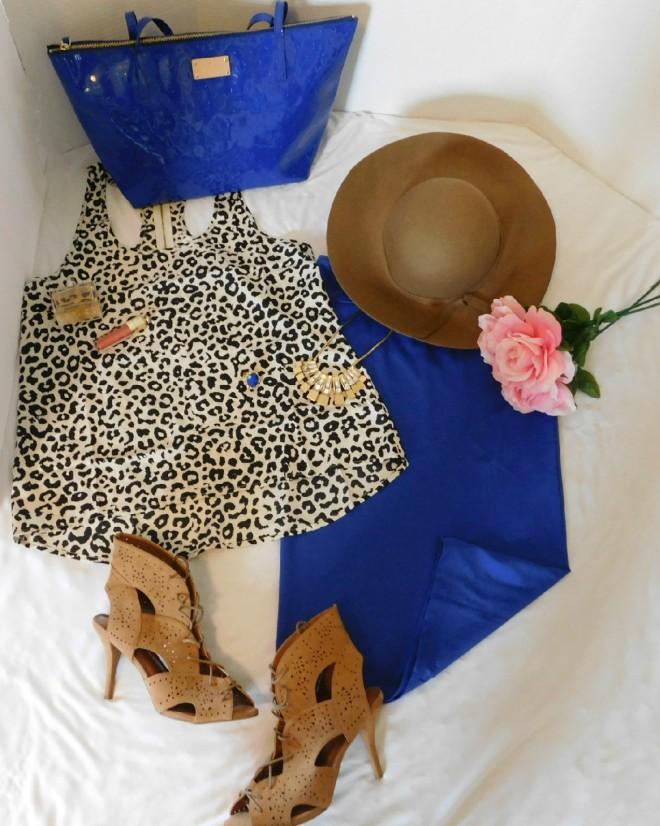royal blue skirt set